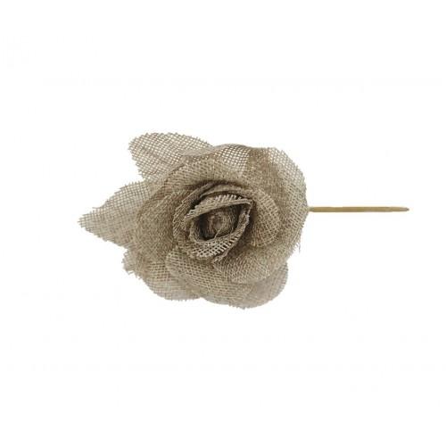 Τριαντάφυλλο Λινάτσα Καφέ Κολαρισμένο 15cm