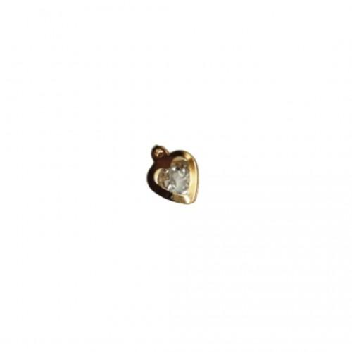 Διακοσμητικό Μεταλλικό Καρδιά με Κρυσταλλάκι Χρυσό