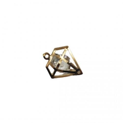 Διακοσμητικό Μεταλλικό Διαμάντι με Κρυσταλλάκι 2cm