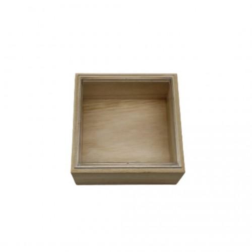 Ξύλινο Κουτάκι με Πλεξιγκλάς Καπάκι 8x8x4cm