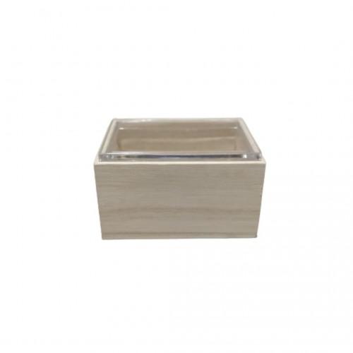 Κουτάκι Ξύλινο με Πλεξιγκλάς Καπάκι 6x6x4cm