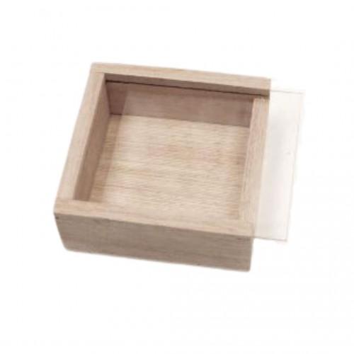 Κουτάκι Ξύλινο με Συρόμενο Πλεξιγκλάς Καπάκι 7cm