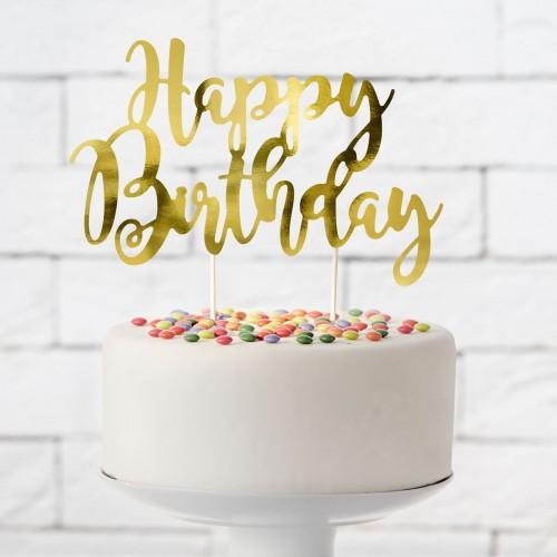 Διακοσμητικό Τούρτας Happy Birthday Χρυσό