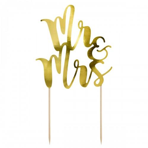 Διακοσμητικό Τούρτας MR & MRS Χρυσό