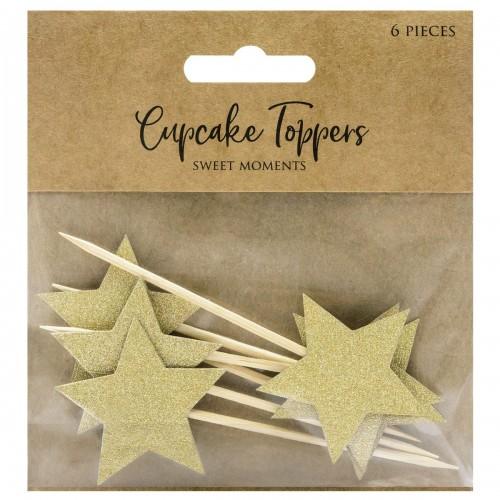 Διακοσμητικό Για Cupcakes Αστέρια Σετ 6τμχ