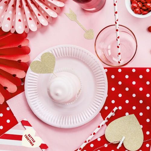 Διακοσμητικό Για Cupcakes Καρδιές Σετ 6τμχ