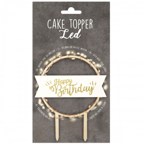 Διακοσμητικό Τούρτας Happy Birthday Με LED Φωτισμό