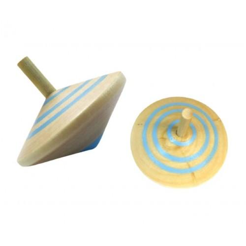 Σβούρα Ξύλινη σε Φυσικό Χρώμα με Σιελ Ρίγες 5.7cm
