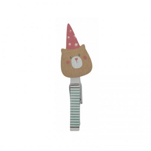 Μανταλάκι Ξύλινο Teddy Hat 10cm