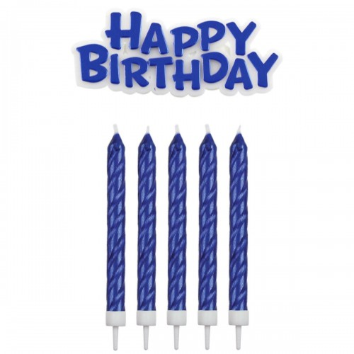 Κεριά Μπλε & Happy Birthday Πακ 17τμχ
