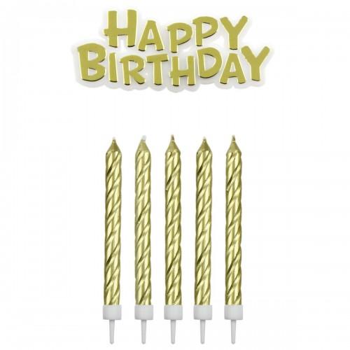 Κεριά Χρυσά & Happy Birthday Πακ 17τμχ