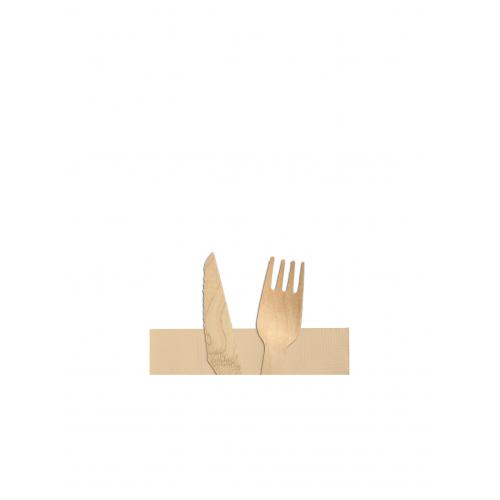 Κουβέρ Ξύλινο (Πιρούνι - Μαχαίρι - Χαρτοπετσέτα) Πακ 100τμχ