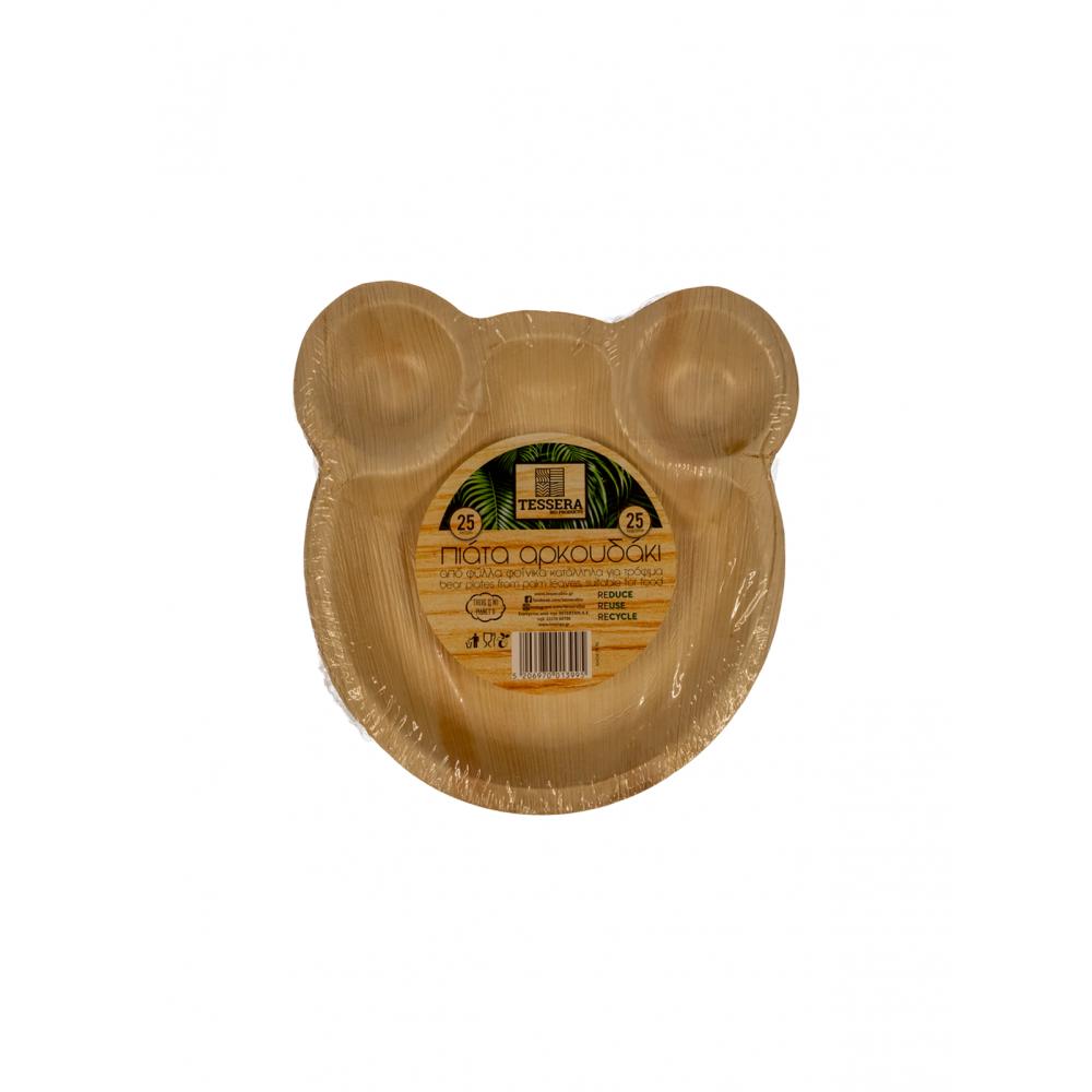 Πιάτο Βιοδιασπώμενο Αρκουδάκι 22cm Πακ 10τμχ