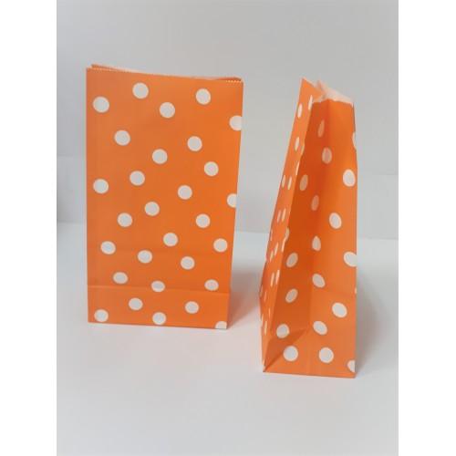 Σακουλάκι Χάρτινο Πορτοκαλί Λευκό Πουά 24Χ13Χ8cm