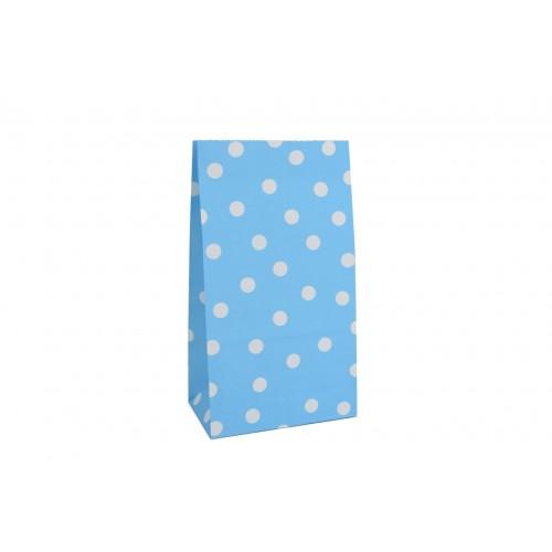 Σακουλάκι Χάρτινο Γαλάζιο Λευκό Πουά 24Χ13Χ8cm