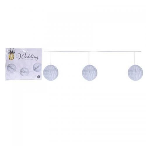 Γιρλάντα Διακόσμησης με Λευκές Μπάλες 250cm