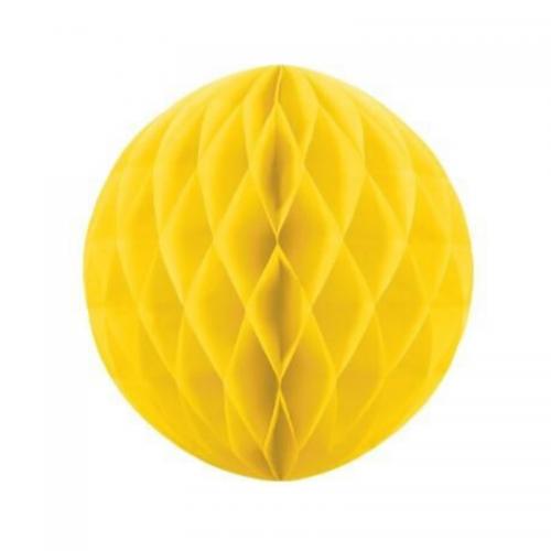 Μπάλα Χάρτινη Διακοσμητική Κίτρινη 30cm Πακ 3τμχ