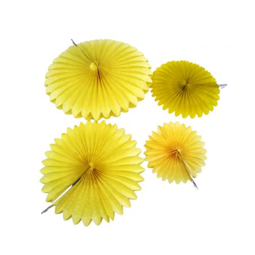Χάρτινα Κρεμαστά Διακοσμητικά Κίτρινα Πακ 4τμχ