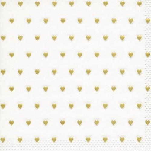 Χαρτοπετσέτα Λευκή με Χρυσές Καρδιές 33Χ33cm Πακ 16τμχ