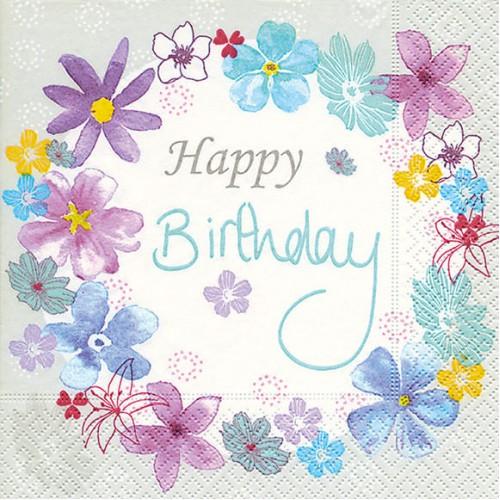 Χαρτοπετσέτα Happy Birthday 25Χ25 Πακ 20τμχ