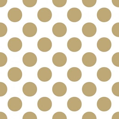 Χαρτοπετσέτα Λευκή με Χρυσό Πουά 33Χ33 Πακ 20τμχ