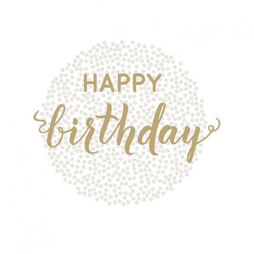 Χαρτοπετσέτα Happy Birthday Χρυσή 33Χ33 Πακ 20τμχ
