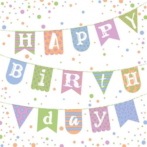 Χαρτοπετσέτα Happy Birthday 33Χ33 Πακ 20τμχ