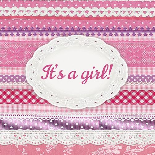 """Χαρτοπετσέτα """"It's a Girl"""" 33Χ33 Πακ 20τμχ"""