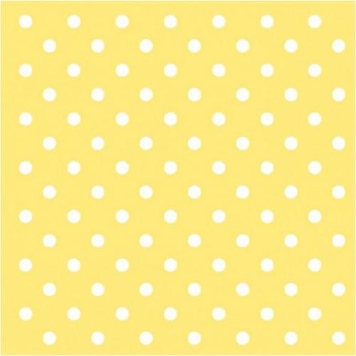 Χαρτοπετσέτα Κίτρινη με Λευκό Πουά 33Χ33cm Πακ 20τμχ