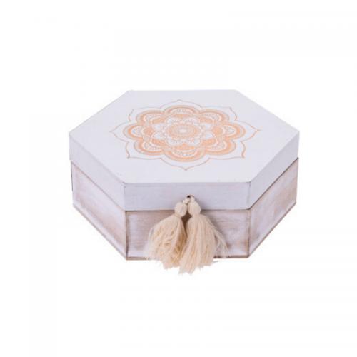 Κουτί Ξύλινο Πολυγωνικό 19X16.5Χ7cm