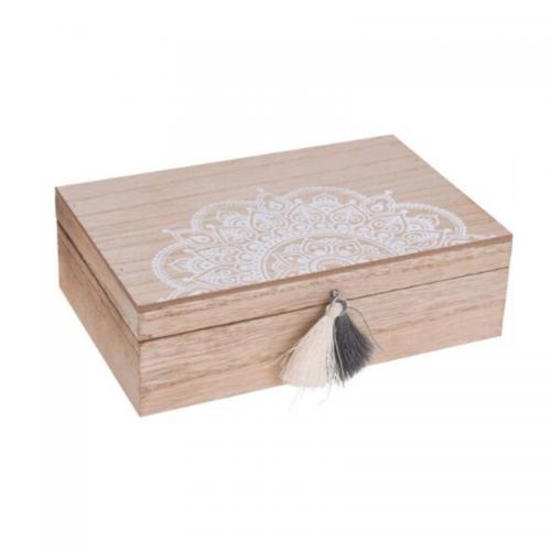 Κουτί Ξύλινο Ορθογώνιο με Φούντα 24Χ19Χ8cm