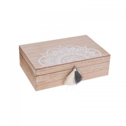 Κουτί Ξύλινο Ορθογώνιο με Φούντα 20X13Χ6cm