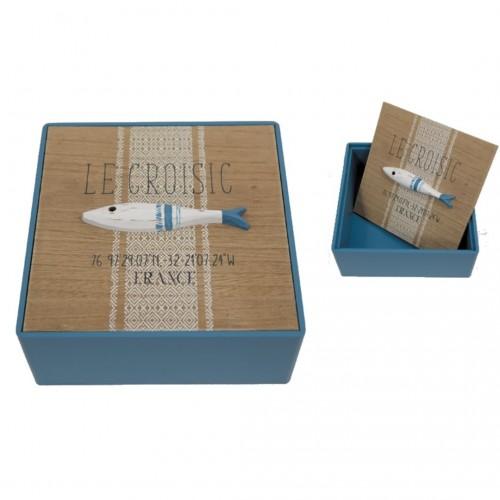 Κουτί Ξύλινο με Καπάκι Ψάρι 20x20x8cm