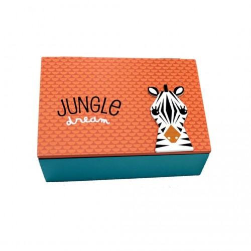 Κουτί Ξύλινο Ζούγκλα Ζέβρα 17x12x6cm