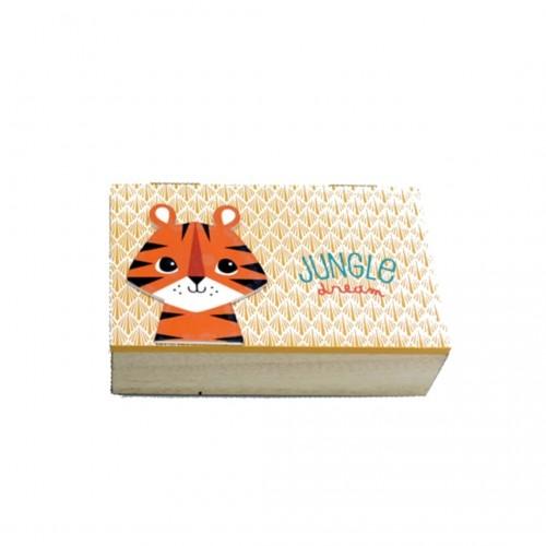 Κουτί Ξύλινο Ζούγκλα Τίγρη 15x9x4.5cm