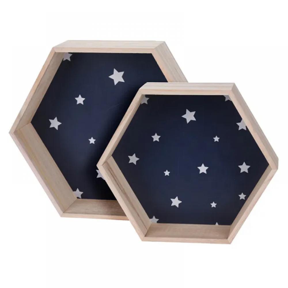 Ράφια Ξύλινα Εξάγωνα Μπλε με Λευκά Αστέρια Σετ 2τμχ