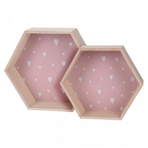 Ράφια Ξύλινα Ροζ με Λευκές Καρδιές Σετ 2τμχ