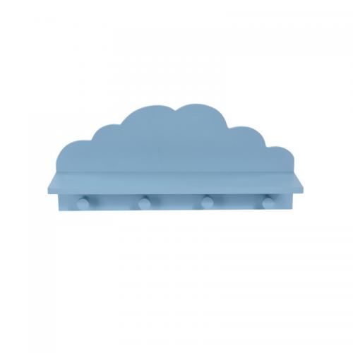 Κρεμάστρα Τοίχου Ξύλινη Παιδική Συννεφάκι Γαλάζιο