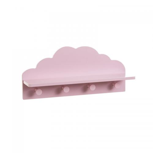 Κρεμάστρα Τοίχου Ξύλινη Παιδική Συννεφάκι Ροζ