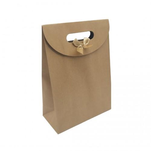 Τσάντα Χάρτινη Χούφτα Κραφτ με Velcro 26.5x19x9cm