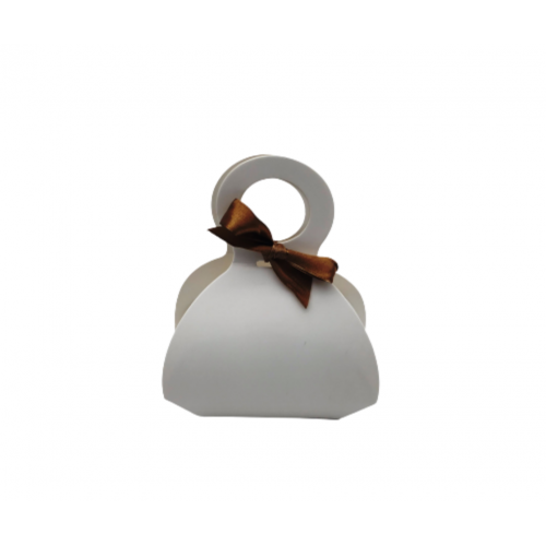 Τσαντάκι Χάρτινο Μπομπέ Με Λαβή & Σατέν Κορδέλα Λευκό 6.5x9x5cm