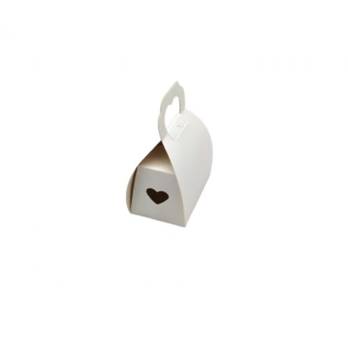 Τσαντάκι Χάρτινο Μπομπέ Με Λαβή Σε Σχήμα Καρδιάς Λευκό