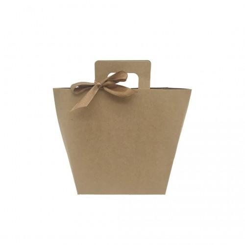 Τσάντα Χάρτινη Κραφτ με Χερούλι και Κορδέλα 14.5x12x6cm