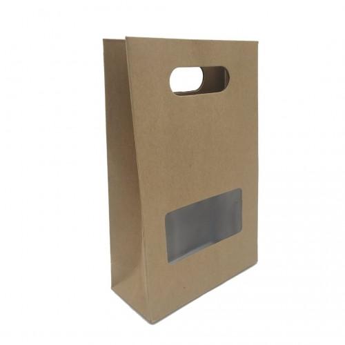 Τσάντα Χάρτινη Κραφτ με Χερούλι και Παράθυρο 23x15x6.5cm