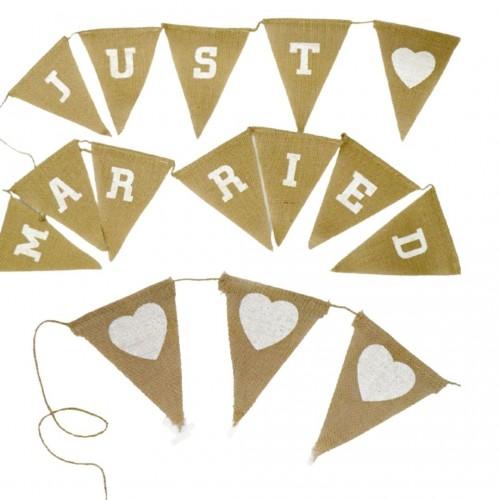 Σημαιάκια Λινάτσα Διακόσμησης Γάμου