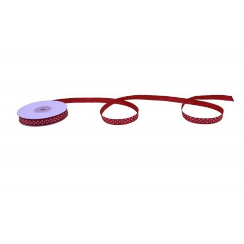 Κορδέλα Σατέν Κόκκινη Λευκό Πουά 10mmX25Y