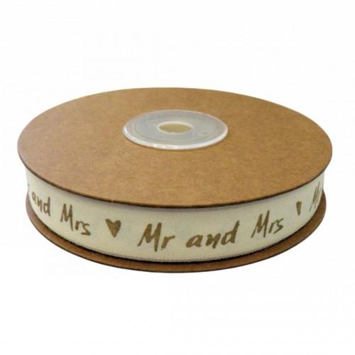 Κορδέλα Βαμβακερή Mr & Mrs 1.5cmx20Y