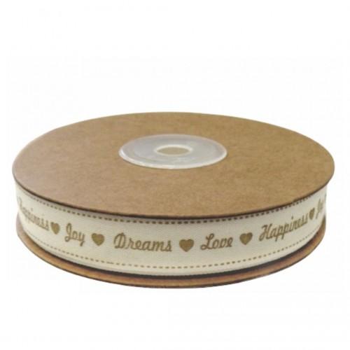 Κορδέλα Βαμβακερή Dreams Love Happiness 1.5cmx20Y