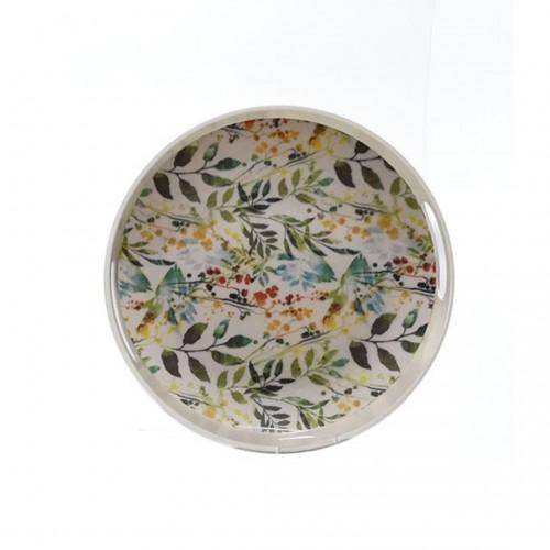 Δίσκος Σερβιρίσματος Στρογγυλός με Σχέδιο Φτέρη και Λουλούδια 30cm