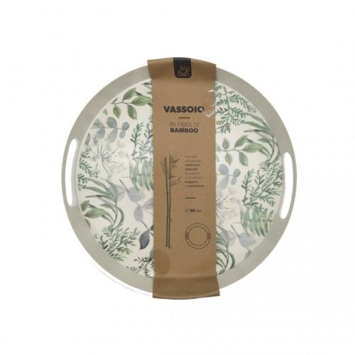 Δίσκος Σερβιρίσματος Στρογγυλός με Σχέδιο Φτέρη 30cm